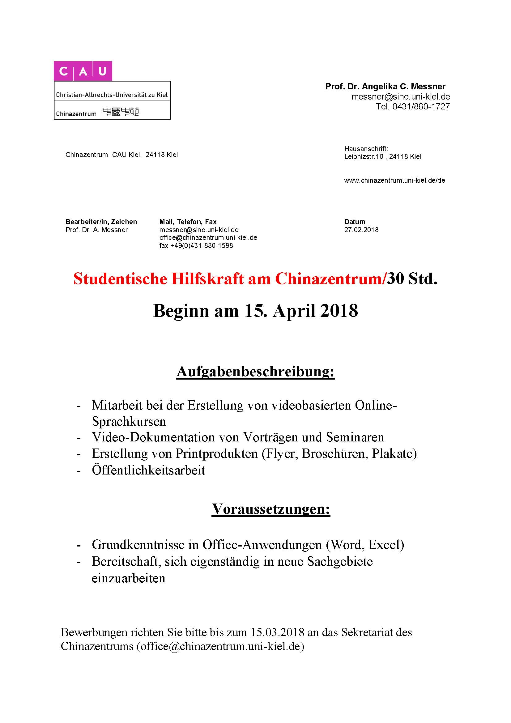 Ausschreibung Hiwi SS 2018