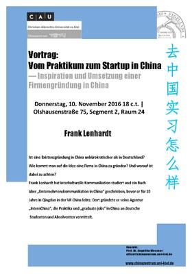 Vortrag: Vom Praktikum zum Startup in China